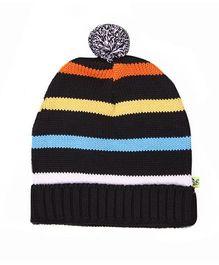 Buzzy Stripes Cap With Pom Pom - Black