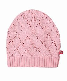 Buzzy Pointelle Knit Design Cap - Pink
