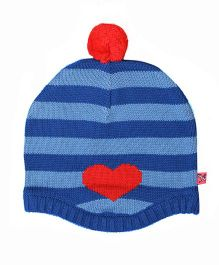 Buzzy Stripes Cap With Pom Pom And Heart Design - Blue Red