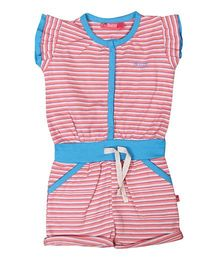 Buzzy Flutter Sleeves Stripes Jumpsuit - Red Blue