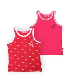 Buzzy Sleeveless Plain And Printed Tank Tops Pack Of 2 - Red Pink