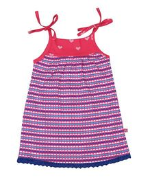 Buzzy Singlet Printed Frock - Dark Pink