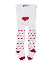 Buzzy Footed Stocking Tights Heart Design - White Red