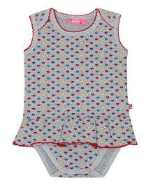 Buzzy Sleeveless Printed Frock Style Onesie - Grey