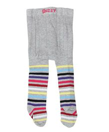 Buzzy Footed Stocking Tights Stripes Design - Grey Multicolor