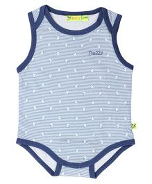 Buzzy Sleeveless Printed Onesie - Blue Navy
