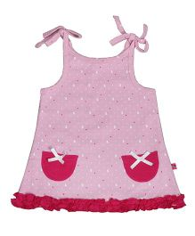 Buzzy Singlet Printed Frock - Pink