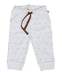 Buzzy Full Length Track Pants Printed - White