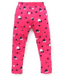 Doreme Full Length Leggings Heart Print - Rani Pink