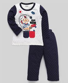 Doreme Full Sleeves Night Suit Lovely Bear Print - Cream Navy
