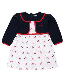 Doreme Frock With Attched Jacket Allover Print - White & Navy