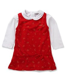 Doreme Sleeveless Frock With Inner Top Bow Applique - White Red