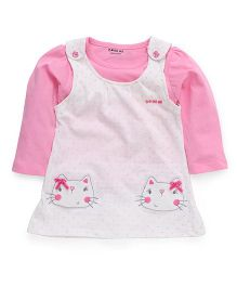 Doreme Frock With Inner Top Polka Dot Print & Kitty Embroidery - White And Pink