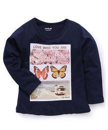 Doreme Full Sleeves T-Shirt Butterfly Print - Blue