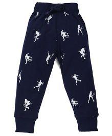 Doreme Full Length Printed Track Pants - Navy Blue