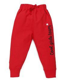 Doreme Full Length Track Pants Text Print - Red