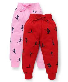 Doreme Full Length Printed Track Pants Pack of 2 - Red Pink
