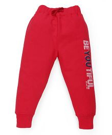 Doreme Full Length Track Pants Text Print  - Pink