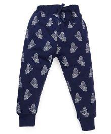 Doreme Full Length Printed Track Pants - Navy