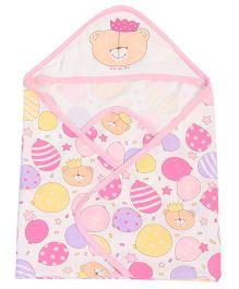 Doreme Hooded Wrapper Bear Print - Light Pink
