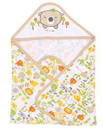 Doreme Hooded Wrapper Bear Print - White Light Brown