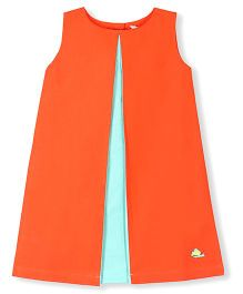 Cherry Crumble California Soft & Vibrant A - Line Pleated Dress - Orange