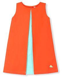 Cherry Crumble California Soft & Vibrant A - Line Pleated Dress - Orange