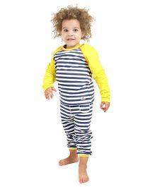 Cherry Crumble California Super Soft Stripped Night Suit For Boy - Yellow & Blue