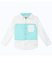 Cherry Crumble California Color Block Shirt With Patch Pocket - White & Blue