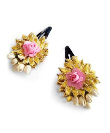 Soulfulsaai Gota Flowers With Coloured Roses - Baby Pink