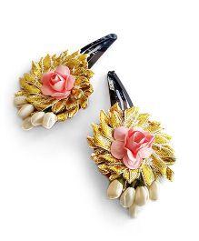 Soulfulsaai Gota Flowers With Coloured Roses - Peach
