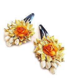 Soulfulsaai Gota Flowers With Coloured Roses - Orange