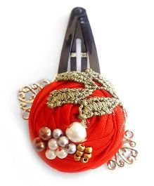 Soulfulsaai Filigree Rosettes Embellished With Pearls Beads & Stones Clip - Red