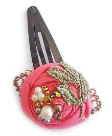 Soulfulsaai Filigree Rosettes Embellished With Pearls Beads & Stones Clip - Pink