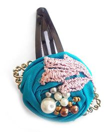 Soulfulsaai Filigree Rosettes Embellished With Pearls Beads & Stones Clip - Blue