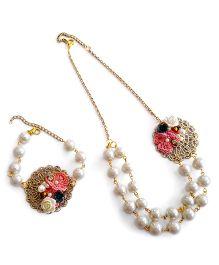 Soulfulsaai Filigree Pearl Necklace Bracelet - Pink