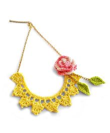 Soulfulsaai Crochet Flower & Leaf Necklace - Yellow