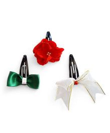 Soulfulsaai Bow & Roses X-Mas Themed Clips - Green White & Red