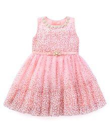 Littleopia Sleeveless Party Frock Flower Applique - Pink