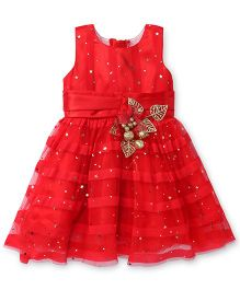 Littleopia Sleeveless Party Frock Flower Applique - Red