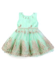 Littleopia Sleeveless Party Frock Bead Detailing - Light Green