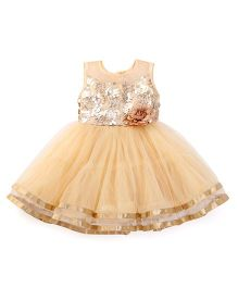 Littleopia Sleeveless Party Frock Flower Applique - Golden