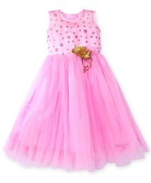 Littleopia Sleeveless Party Frock Flower Applique - Pink