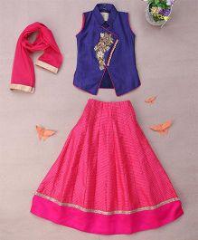 Enfance Solid & Checks Diamond Embroidery Ghaghra Choli Dupatta - Blue & Rani