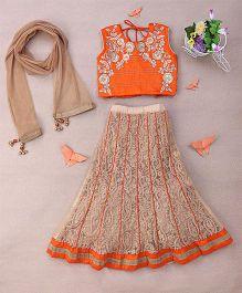 Enfance Worked Enchor Stitching A Line Choli Lehenga Set With Dupatta - Orange & Gold