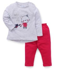 Simply Full Sleeves Kitty Patch Top With Leggings Set - Grey & Fuchsia