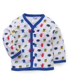 Simply Full Sleeves Printed Vest - White & Blue