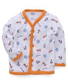 Simply Full Sleeves Printed Vest - White & Orange