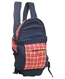 Checks Print Baby Carrier - Navy Red & White