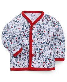 Simply Full Sleeves Multi Print Vest - White & Red